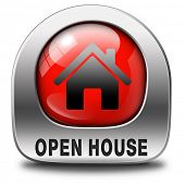 Open house red sign banner or placard for renting or buying a new home visit a real estate property