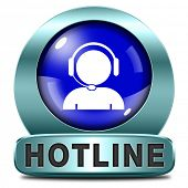 hotline blue icon call center button or helpline sign for online customer support