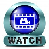 watch Video play videos clip or watching movie online or in live stream, multimedia button banner or