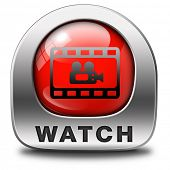 playing video clip or watch movie online or in live stream, multimedia button banner or icon