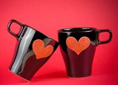 Cups Of Milk With Decorative Heart On Red Background, Concept Of Valentine Day