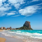 Calpe Alicante Arenal Bol beach with Penon de Ifach mountain in Mediterranean sea of Spain