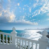 foto of balustrade  - Benidorm balcon del Mediterraneo Mediterranean sea white balustrade in Alicante Spain - JPG