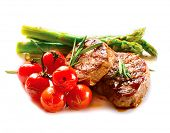 Постер, плакат: BBQ Steak Barbecue Grilled Beef Steak Meat with Vegetables Healthy Food Barbeque Steak Dinner iso