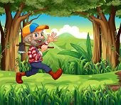Illustration of a forest with a smiling woodman holding an axe
