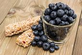 Muesli Bars With Blueberries In A Glass