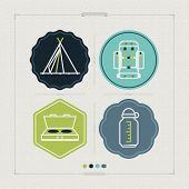 picture of tipi  - 4 icons in relations to summer outdoor activity pictured here from left to right top to bottom: 