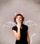 picture of nasty  - Young nasty girl with devil horns and wings drawing - JPG