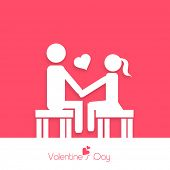 Happy Valentines Day celebration greeting card with white silhouette of young couple in love on red and white background.