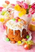 Easter cake and  eggs on festive Easter table