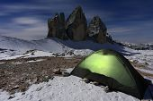 Moonlight camping at Tre Cime di Lavaredo, The Dolomites,Italy