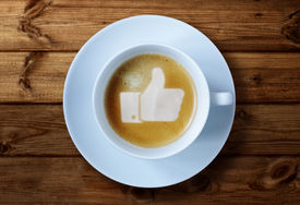 image of follow-up  - Thumbs up or like symbol in coffee froth - JPG