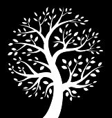 White Tree icon on black background