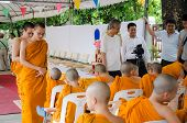 Bangkok ,thailand - 9 July 2014 : Unknown Monks In Buddhism Study Project At Wat Rama 9 Kanchanapise