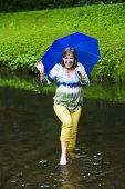 Woman Walking In Water