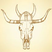 stock photo of texas-longhorn  - Sketch texas longhorn steer in viking helmet - JPG