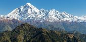 stock photo of nepali  - View of mount Dhaulagiriwith blue sky  - JPG
