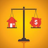 weighing or compare or exchange home to money concept vector