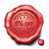 5 Percent Off Red Wax Seal
