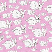 Pink And White Bunny Textured Fabric Repeat Pattern Background