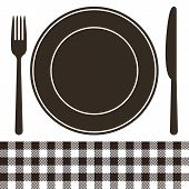 Cutlery, Plate And Tablecloth Pattern In Black And White