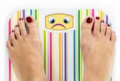 Feet On Bathroom Scale With Sad Cute Face On Dial