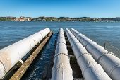 White Pipes On Tagus River, Lisbon (portugal)