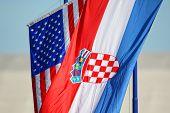 American And Croatian National Flags Waving