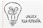 Unlock Your Potential, Lightbulb With Gearwheels