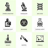 Set of black chemistry icons.