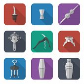 barmen equipment icons set