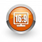 16 9 display orange glossy web icon