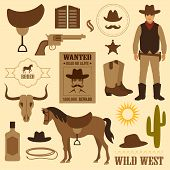 image of cowboy  - vector illustration of isolated cowboy - JPG