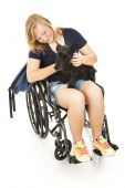 Disabled Girl Comforts Dog