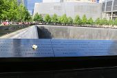 Flower left at the National 9 11 Memorial at Ground Zero in Lower Manhattan