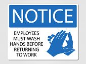 Employees wash hands sign vector illustration