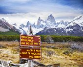 Park Signs In Los Glaciares National Park, Fitz Roy Mountain Range, Argentina.