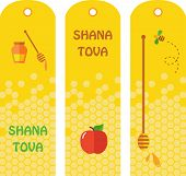 Set of honey labels, badges and design elements for Rosh Hashana.