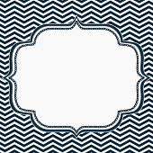 foto of chevron  - Navy Blue and White Chevron Frame with Embroidery Background with center for copy - JPG