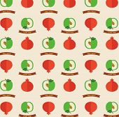 Seamless pattern with apples and pomegranates.  Greeting card for Rosh hashana holiday.