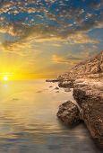 Rocks, Sea, Sunset With Rays.