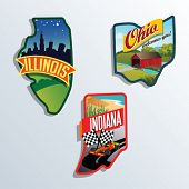 llinois, Indiana, Ohio, United States vector illustrations