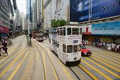 HONG KONG - MAY 18: Double-decker tram on May 18, 2014. Hong Kong tram is the only system in the wor