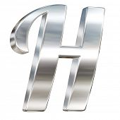 Letter H from chrome solid alphabet isolated on white