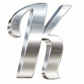 Letter K from chrome solid alphabet isolated on white