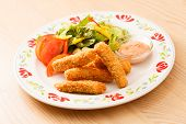 fish fingers with vegetables