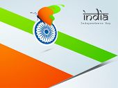 Beautiful butterfly in saffron and green colors with Asoka Wheel on national flag background for Ind