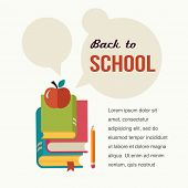 Back to school, read the books, education concept, with speech bubbles, vector design