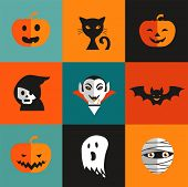Halloween cute set of icons - pumpkin, black cat, ghost, Dracula, skull, zombi
