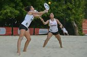 MOSCOW, RUSSIA - JULY 18, 2014: Marie-Eve (left) and Mathilde Hoarau of France in the match against